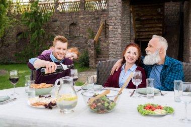 happy family at backyard