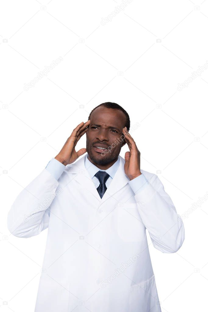 african american doctor with headache