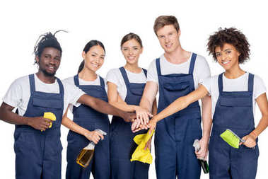 group of multiethnic cleaners