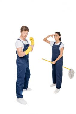 multicultural cleaners with mop