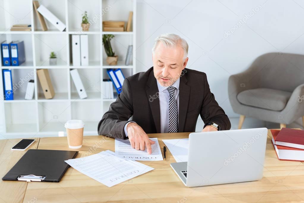 mature businessman with paperwork