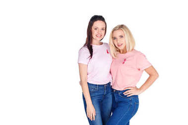 young women in pink t-shirts