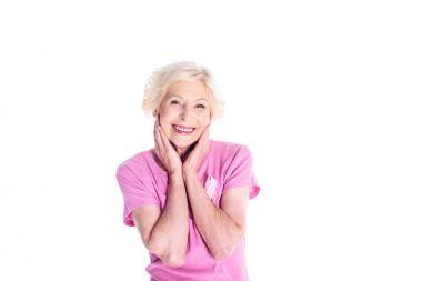 senior woman in pink t-shirt