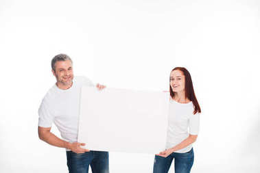 Couple holding empty card