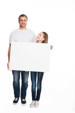 Happy daughter and father holding empty banner, isolated on white stock vector