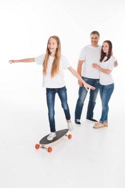 happy child on longboard