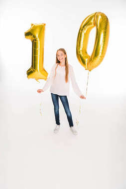 child with balloons for birthday