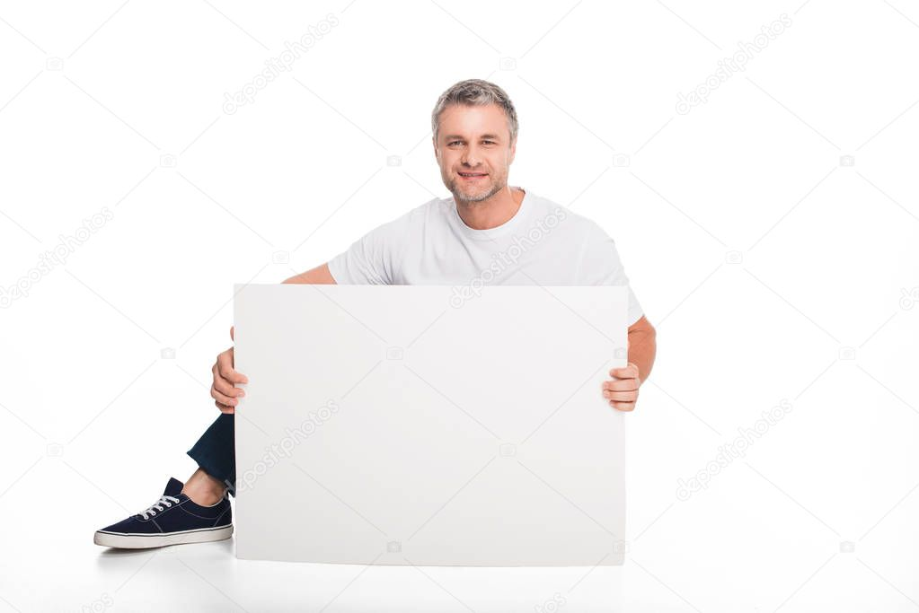 man with empty card
