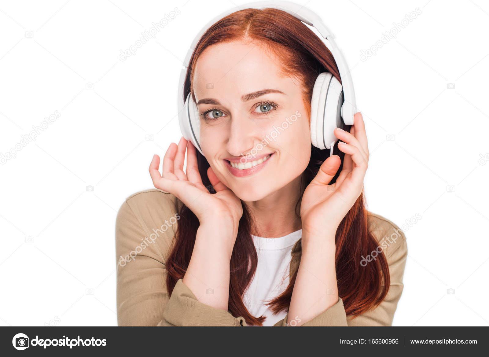 nő zenehallgatás fejhallgató — Stock Fotó © IgorVetushko  165600956 86a1a6a1e1