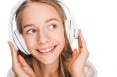 teenager listening music with headphones