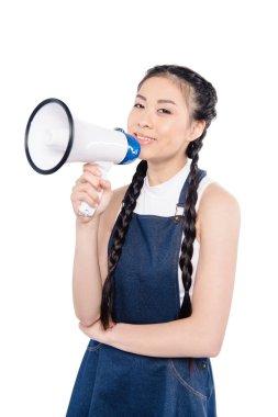 smiling asian woman with loudspeaker