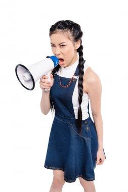 screaming asian woman with loudspeaker