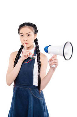 asian woman with loudspeaker