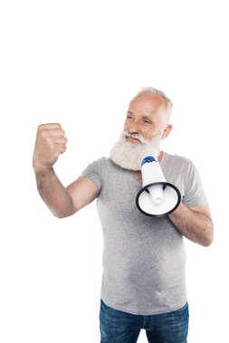 senior man with loudspeaker showing fist