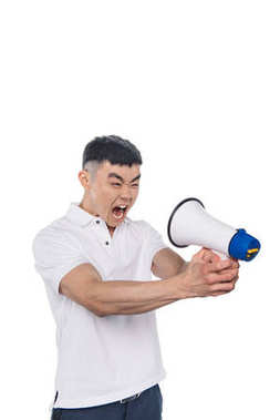 yelling asian man with bullhorn