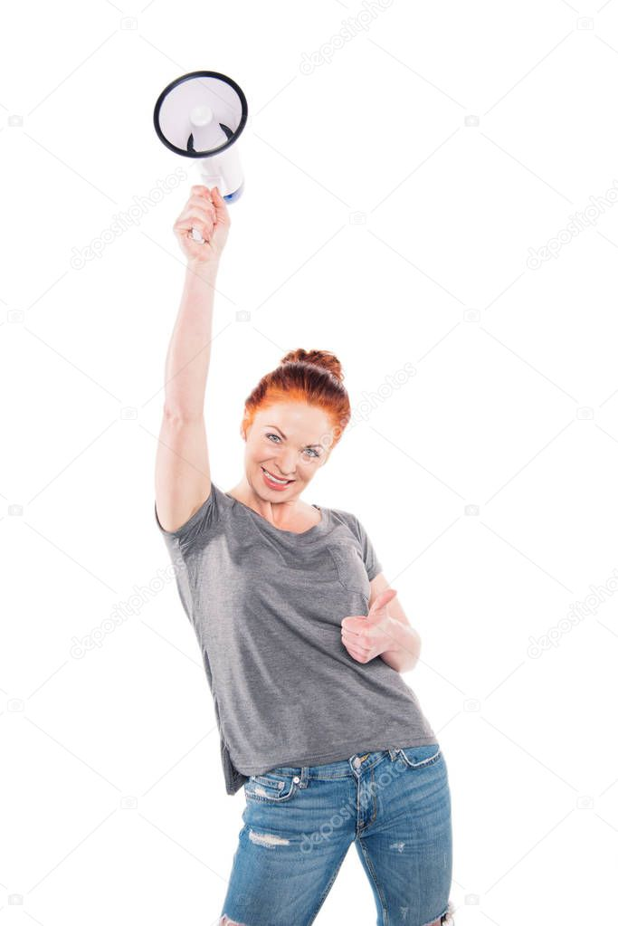 woman with megaphone showing thumb up