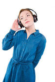 Fényképek lány zenehallgatás fejhallgató