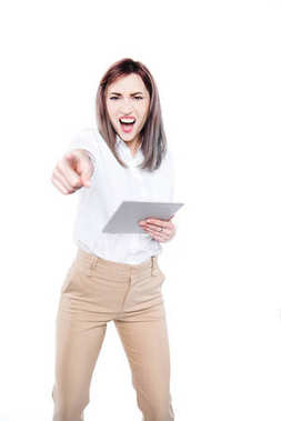angry businesswoman with tablet