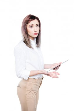 upset businesswoman with digital tablet
