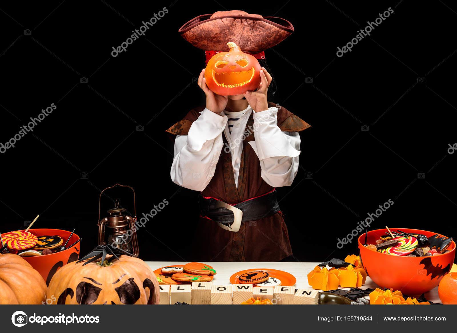 little pirate with jack o lantern u2014 stock photo igorvetushko