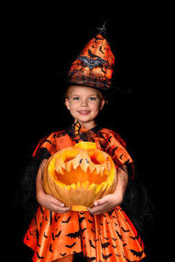 witch with jack o lantern for halloween