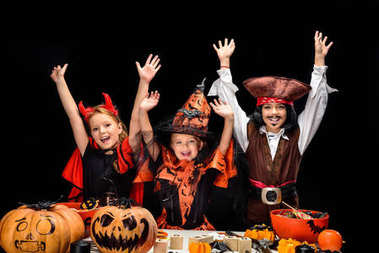 halloween devil, witch and pirate