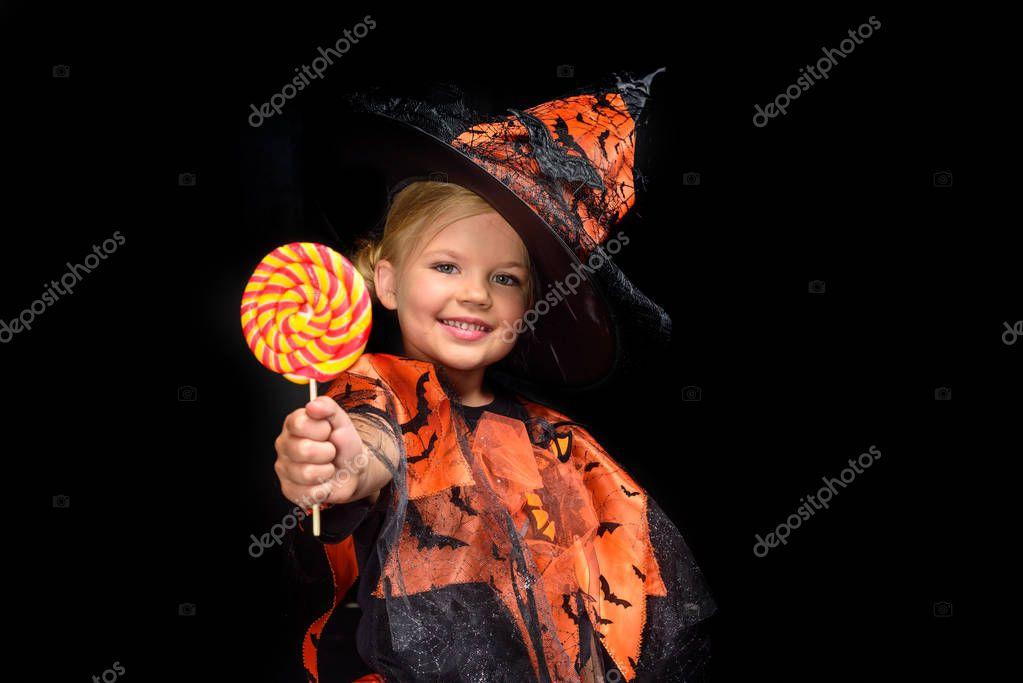 halloween witch with lollipop
