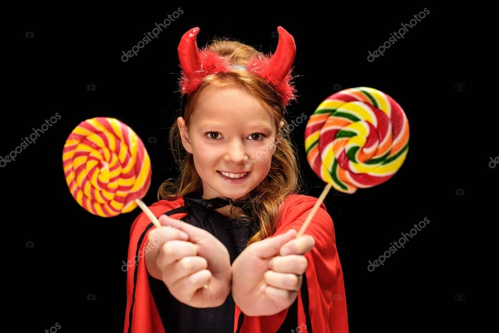 little devil with lollipops