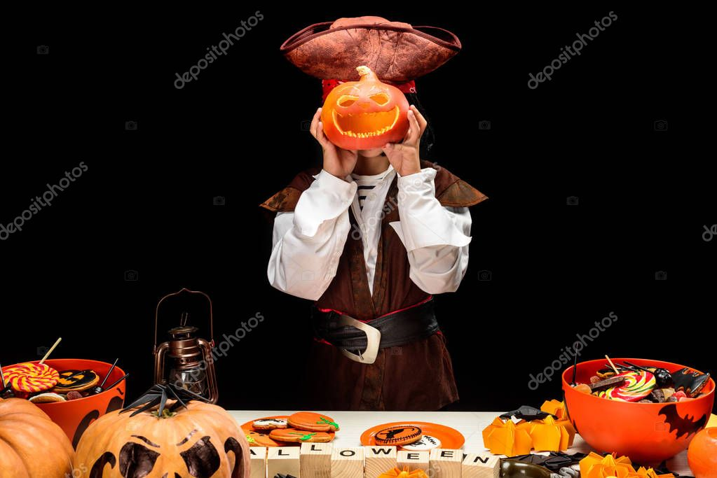 little pirate with jack o lantern