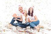 Fényképek család karácsonyi konfetti