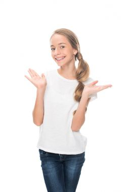 teenager with shrug gesture