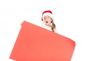 teenager with Christmas empty board