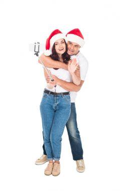 couple taking selfie on Christmas