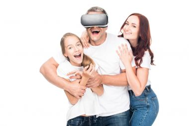 family using vr headset