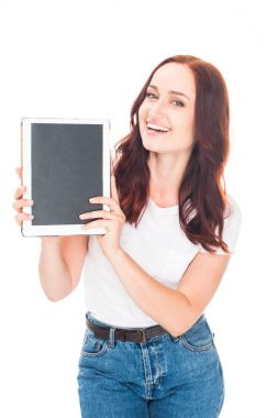 woman presenting digital tablet
