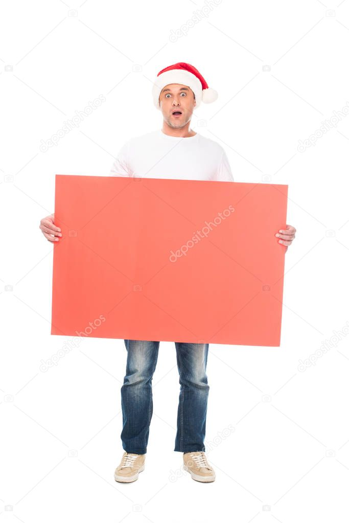 man with Christmas empty board