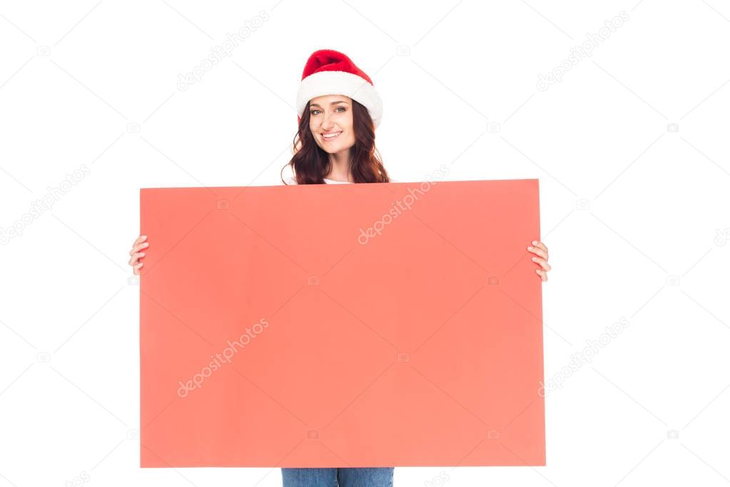 woman with Christmas empty board
