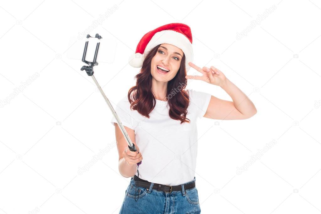 girl taking selfie on Christmas