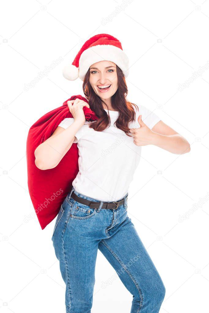 girl in Santa hat with bag