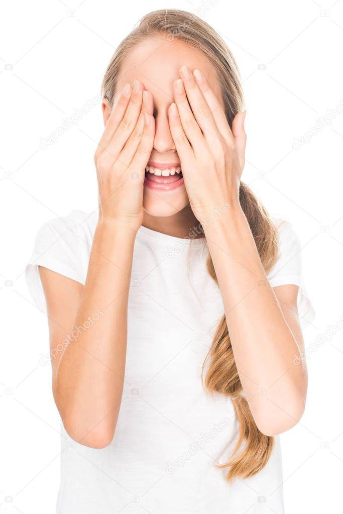 teen girl closing eyes
