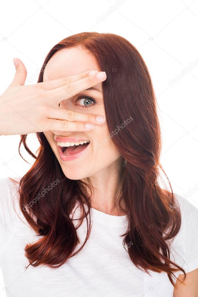 woman looking through fingens