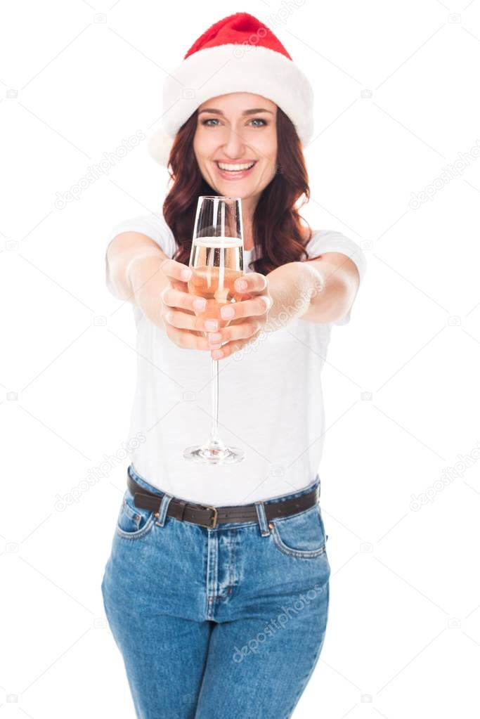 girl in Santa hat with champagne