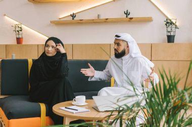 muslim couple having argument