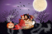 Photo children with jack o lantern on halloween