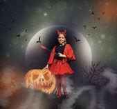 Fotografie malý ďábel s jack o lucernou