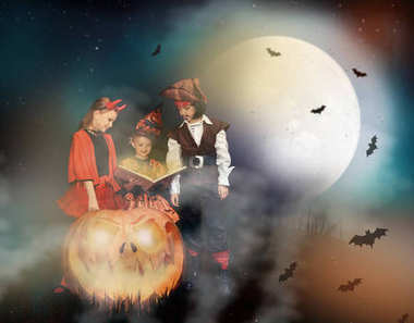 Children in halloween costumes of devil, witch and pirate with magic book and big jack o lantern at halloween night with bats, moon and mist stock vector