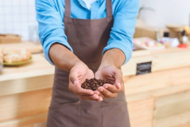 barista holding coffee beans