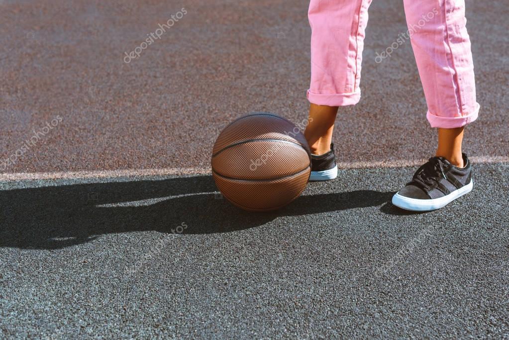 basketball ball on sports court