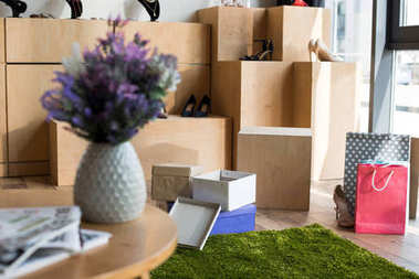 shoes and boxes in boutique