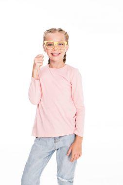 child with cardboard carnival eyeglasses